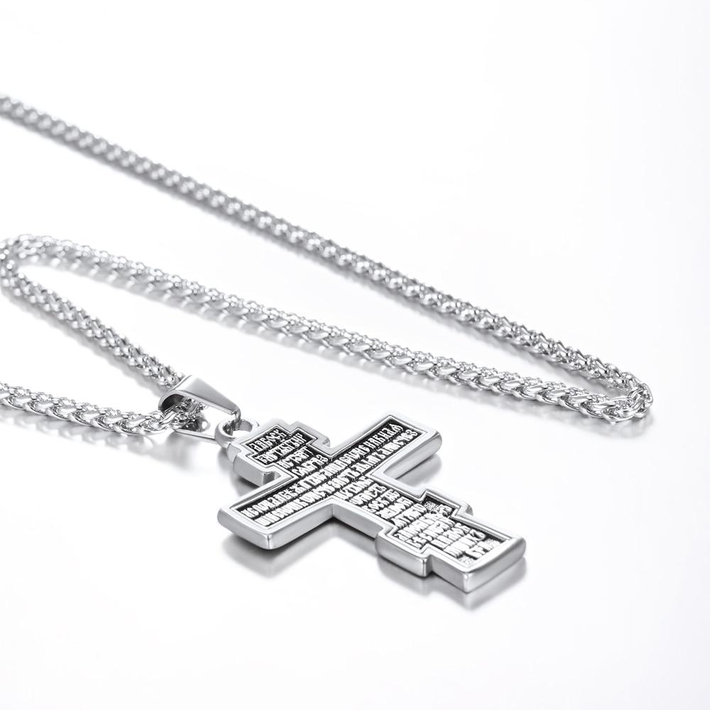 U7 Brand Christian Orthodox Crucifix Jesus Russian Cross Prayer Big Pendant Stainless Steel Silver/Gold Color Men Women Jewelry
